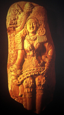 north Indian plaque with goddess or woman in ceremonial dress