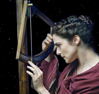 Hypatia looks at the heavens through an astrolabe