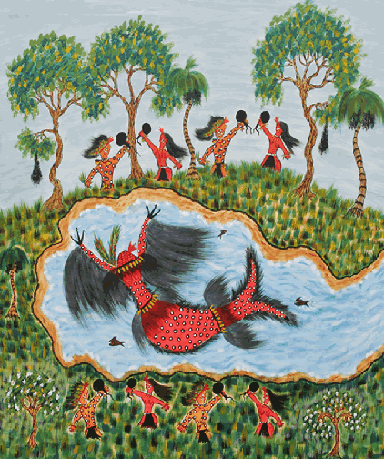 the goddess as a red fish with breasts and long black fringes, swimming in the waters whle people dance on the shores