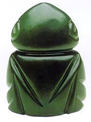 rounded frog greenstone amulet