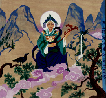 the goddess seated on a wild mountain, holding the ling zhi and a peach, with the three-legged raven