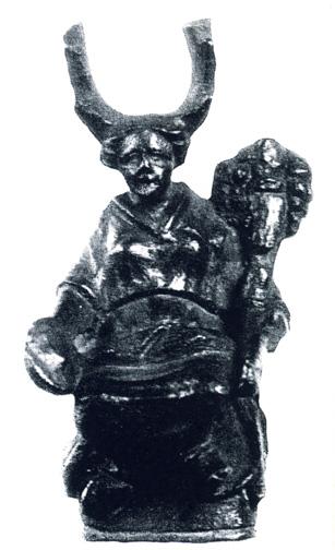 estatueta de bronze sentada