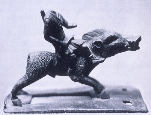 rider on boar in bronze