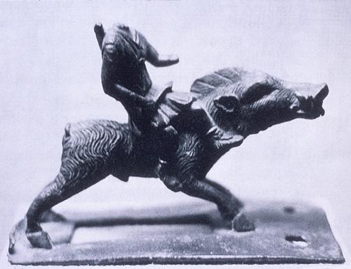 cavaleiro em javali em bronze